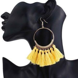 Jewelry - Boho Yellow Dangle Tassel Earrings